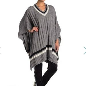 UGG Weslynn Sweater Poncho Cable Wool NEW Gray M/L